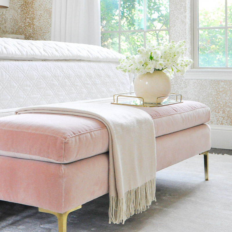 Glam bench blush pink velvet gold legs