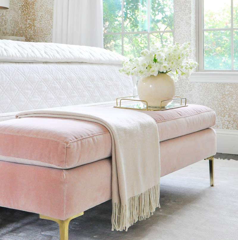 Gorgeous glamorous blush velvet bench gol brass legs