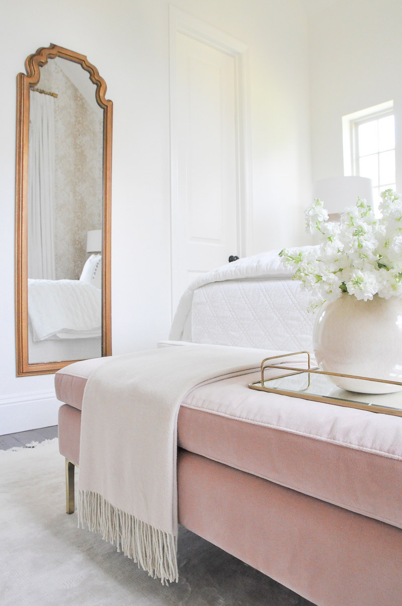 Gold mirror blush velvet bench beautiful guest bedroom
