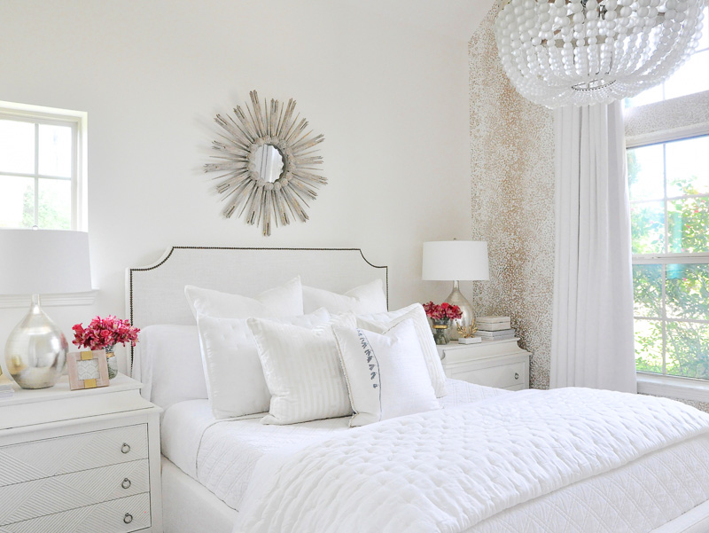 Gorgeous white guest bedroom gold accent wallpaper
