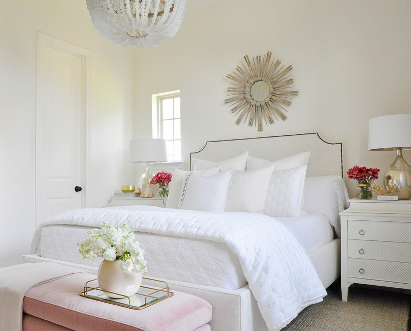 White bedroom blush velvet bench