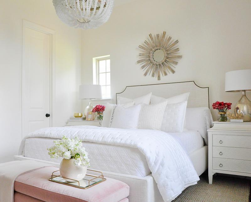 White bedroom blush velvet bench