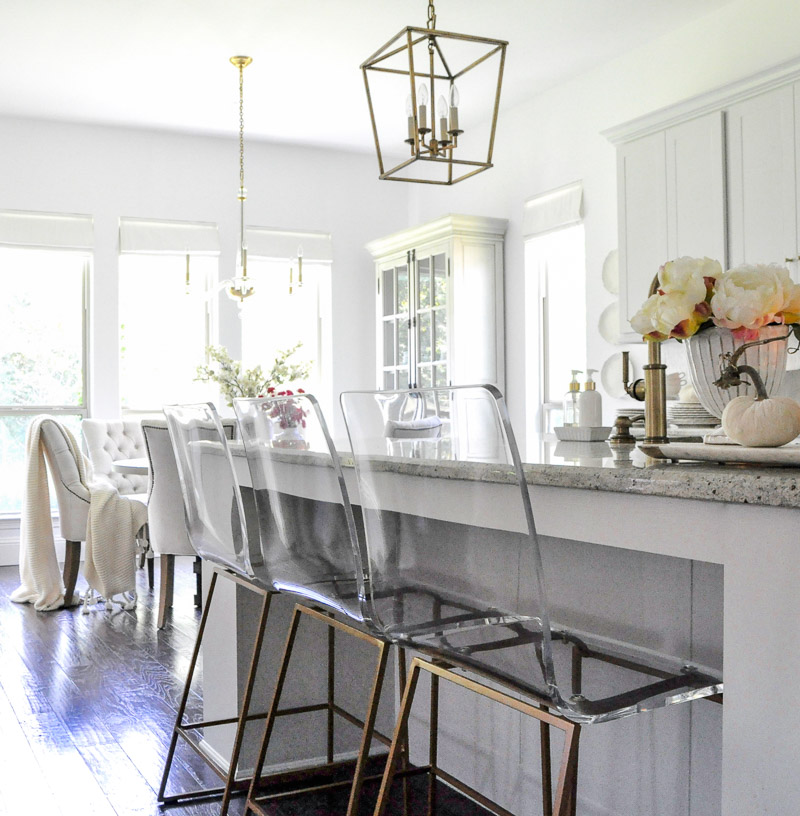 Kitchen lucite stools light gray cabinets
