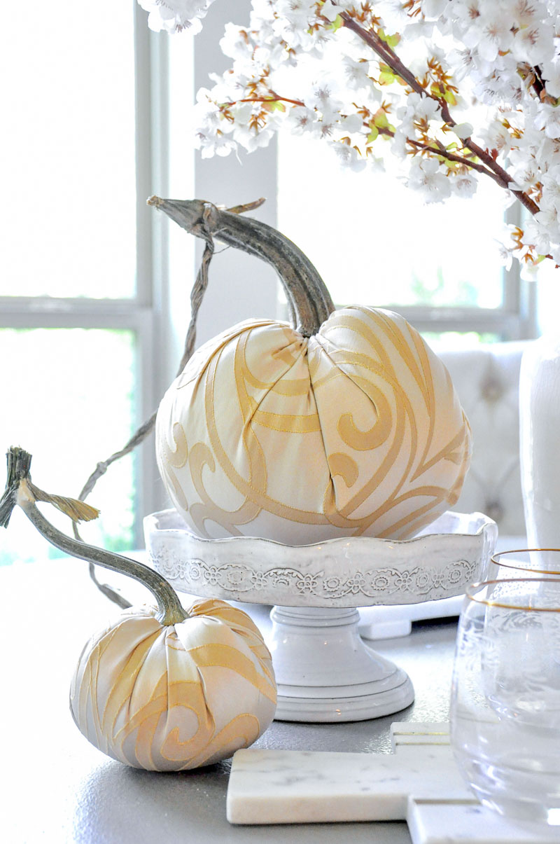 specialty fabric pumpkins white cake stand