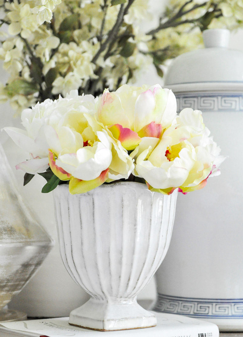 white footed vase