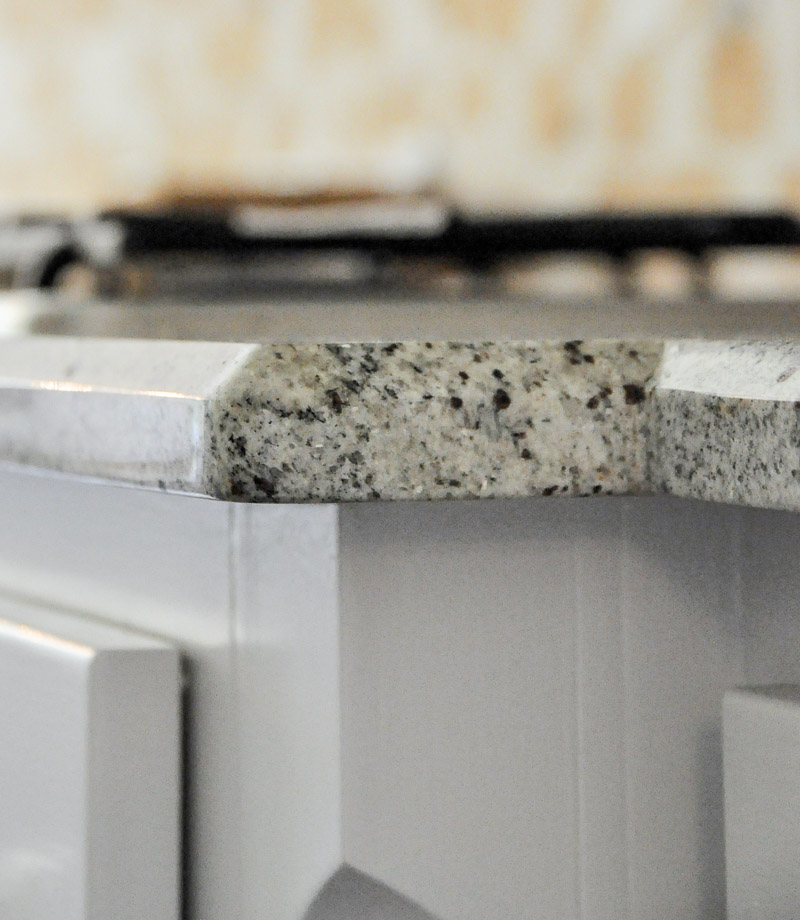 Kitchen remodel project beveled edge granite