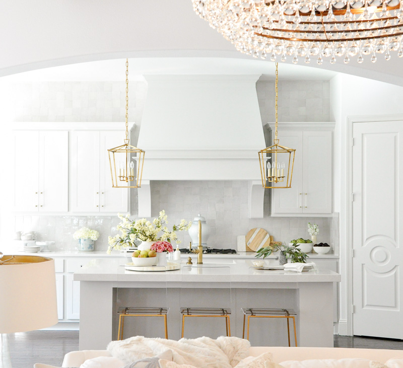 Beautiful view kitchen light gray gold lights
