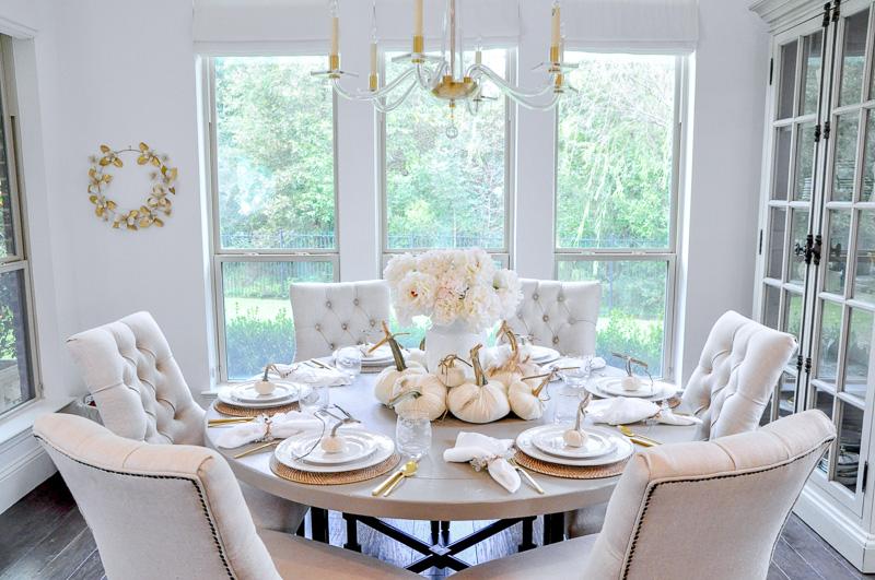 Decorative pumpkins white fall centerpiece