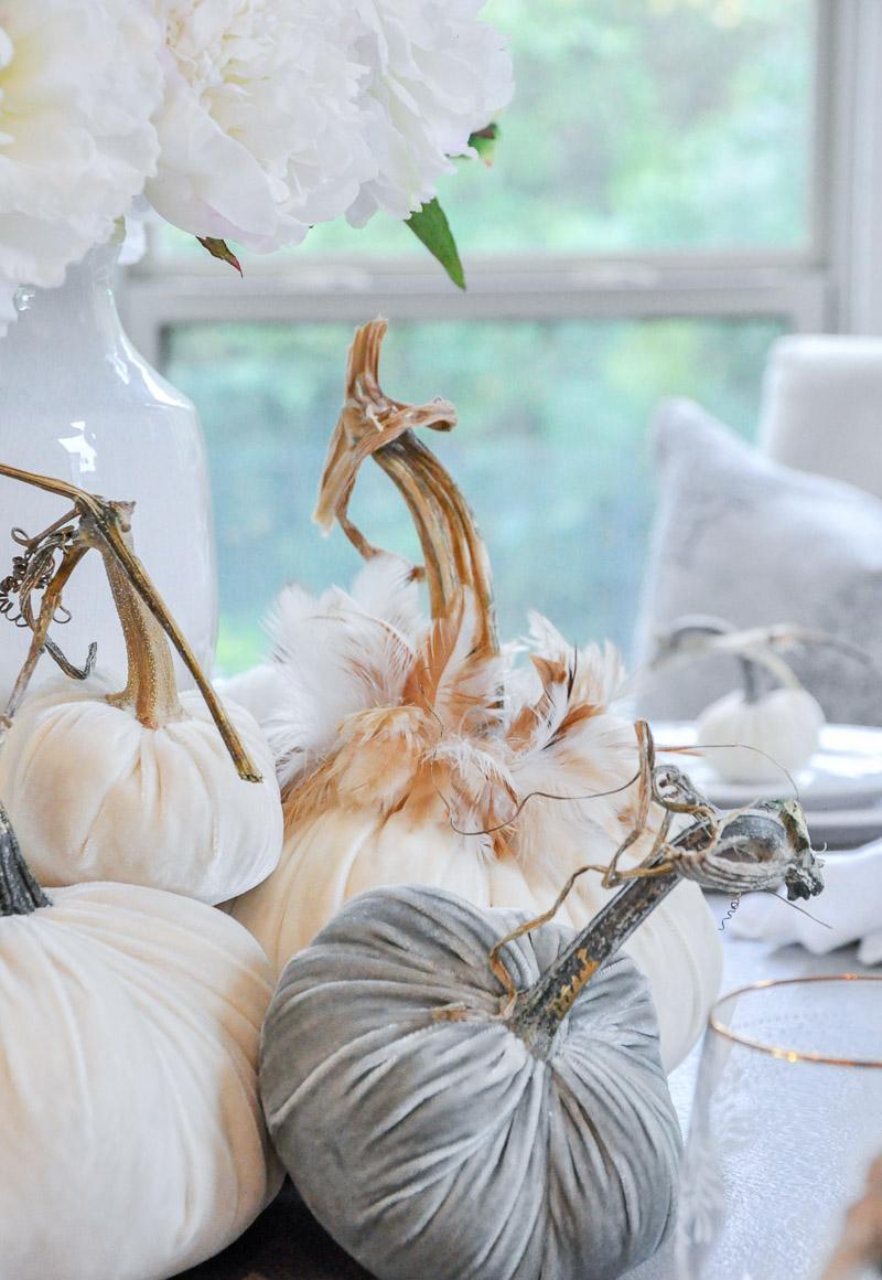 Beautiful decorative velvet pumpkins