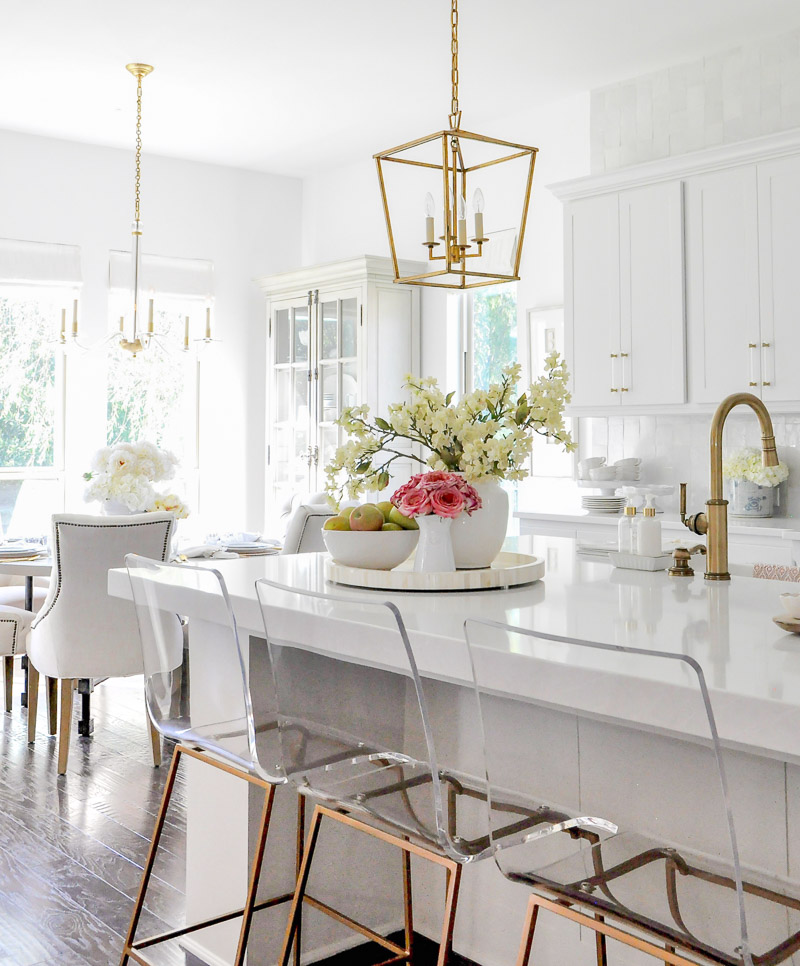 Gorgeous white kitchen gold accents lucite bar stools