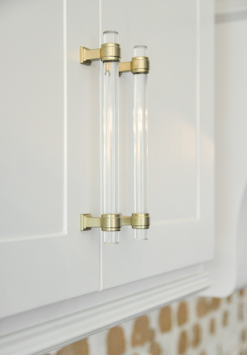 Lucite brass kitchen cabinet pulls