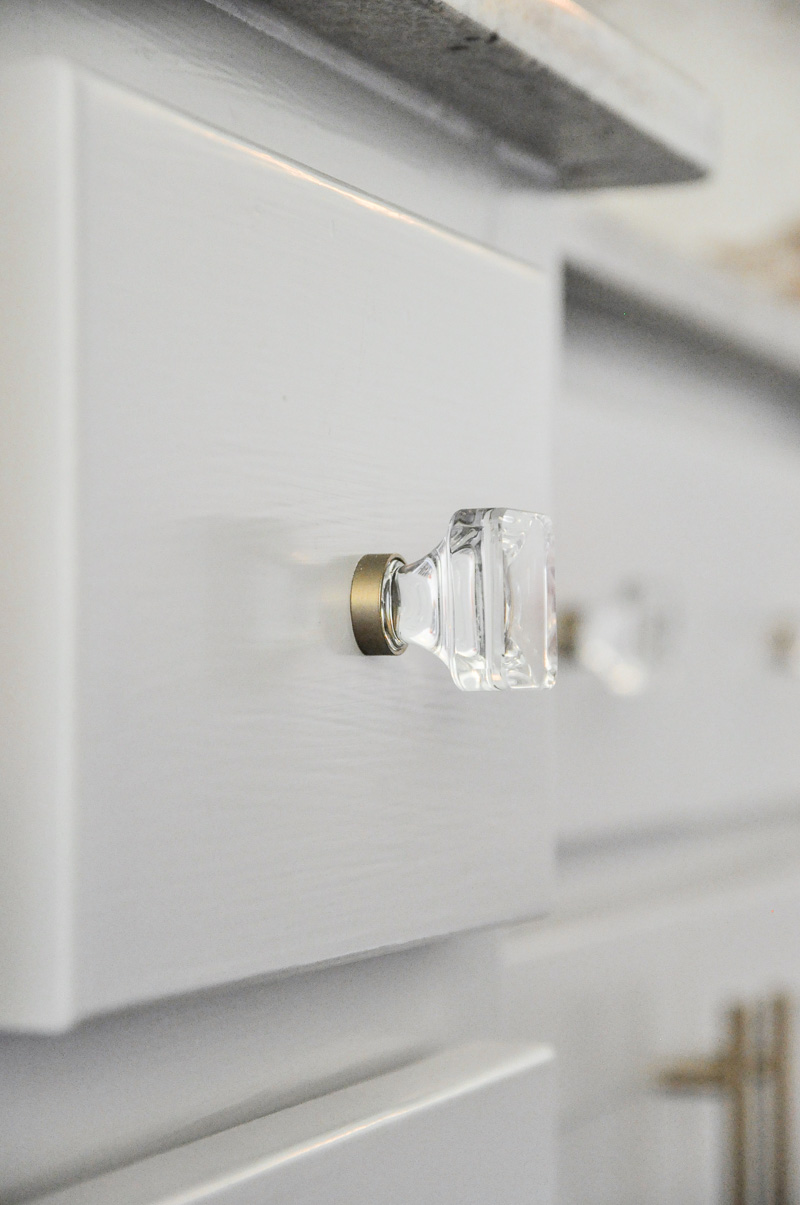 Lucite brass knobs kitchen cabinets