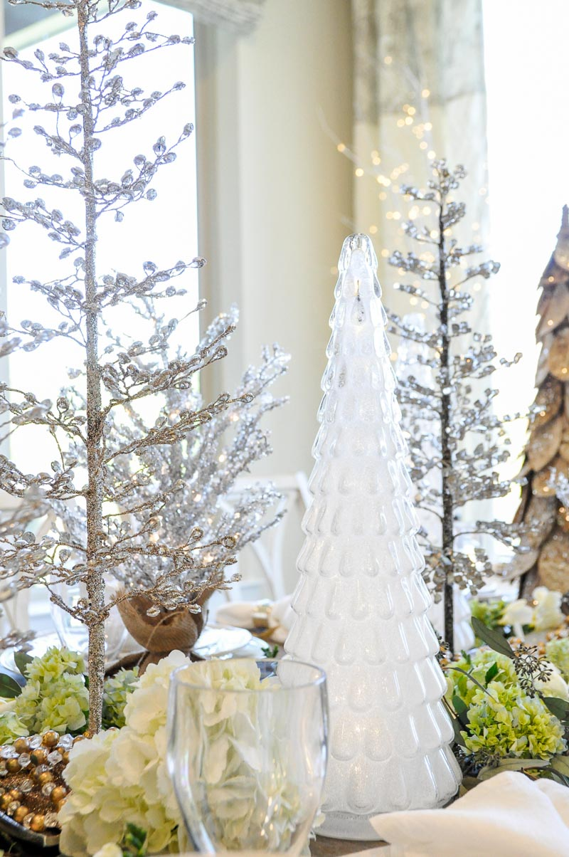 Crystal holiday trees frosted glass tree