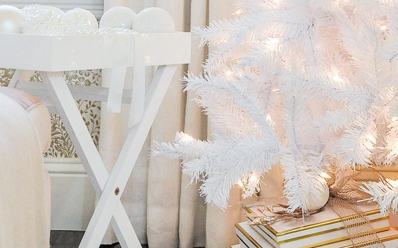 beautiful white bedroom decorated christmas white tinsel tree