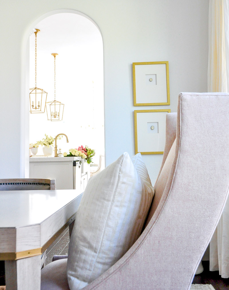 Blush dining room chair framed intaglios