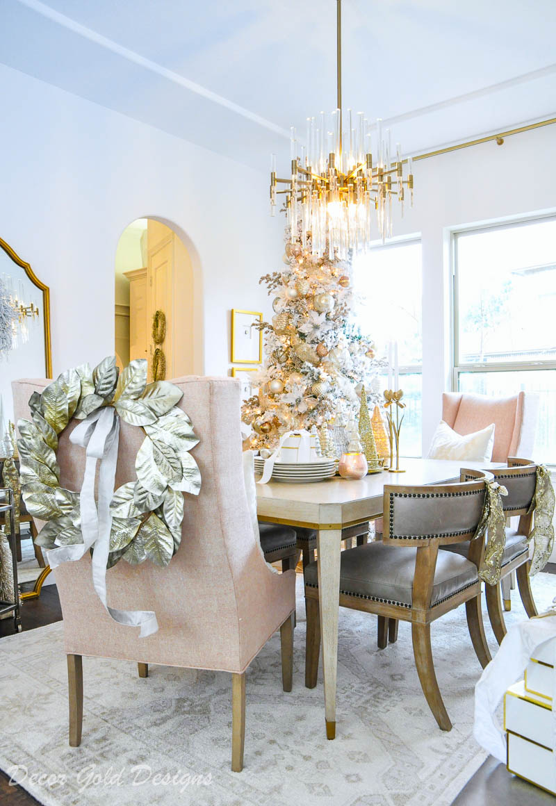 Christmas dining room soft colors beautiful tree