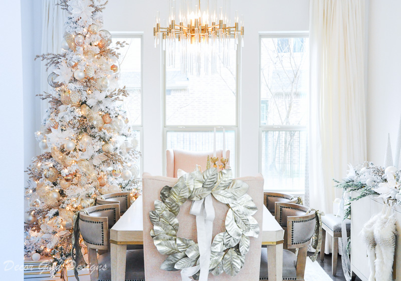 Christmas dining room blush gold soft colors