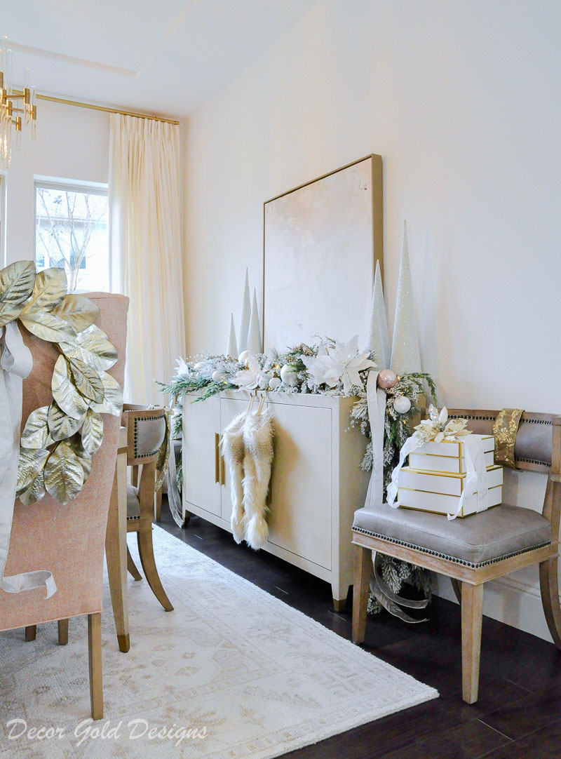 Elegant Christmas dining room metallic gold white