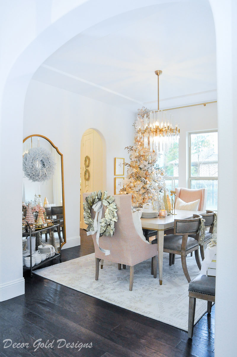 Christmas dining room blush gold