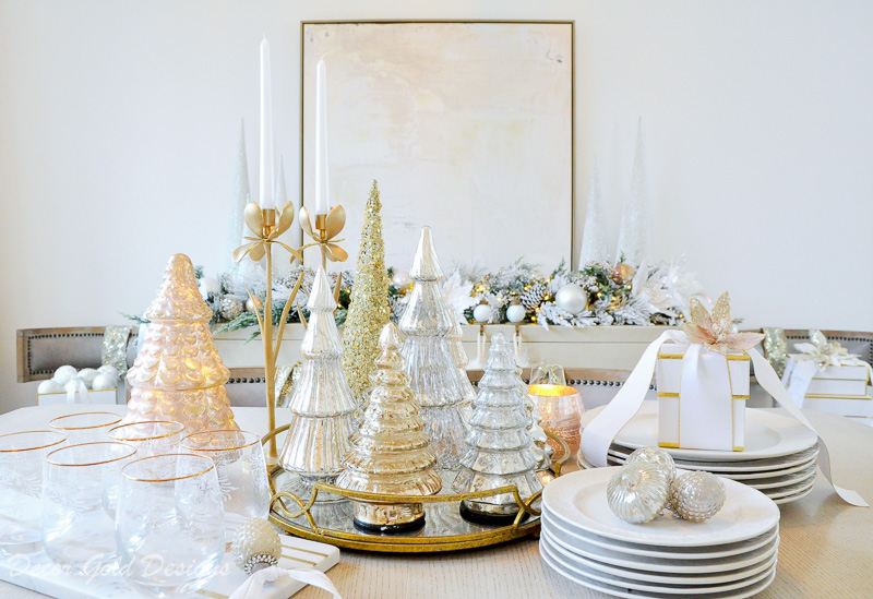 Christmas table styled glass trees