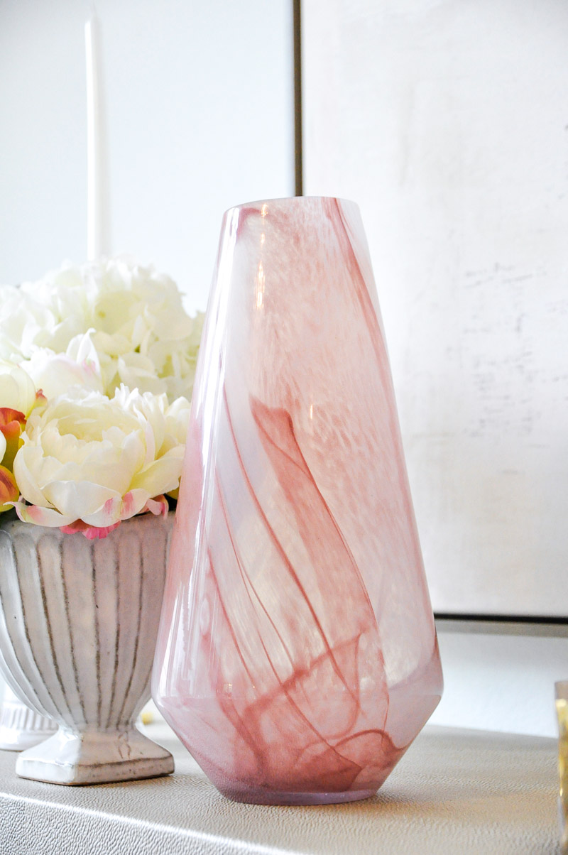 Dining room accessory blush vase