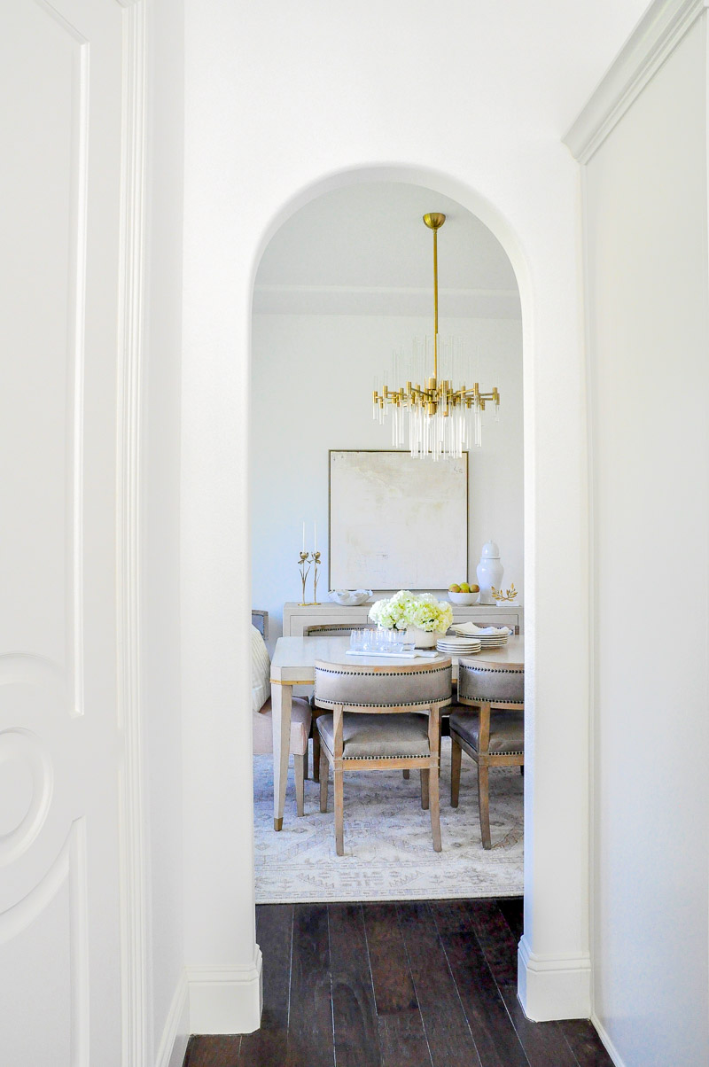 elegant dining room arched entrance view