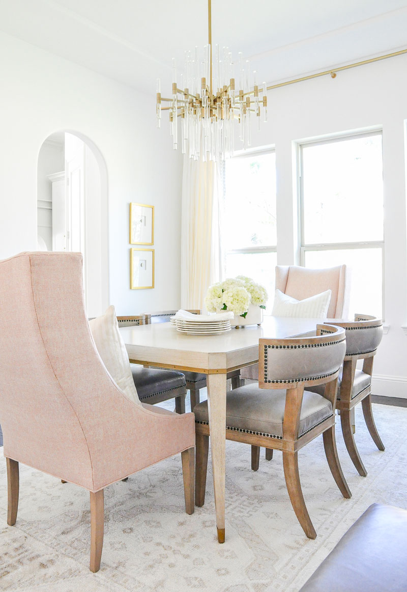 Elegant dining room beautiful blush end chairs glam
