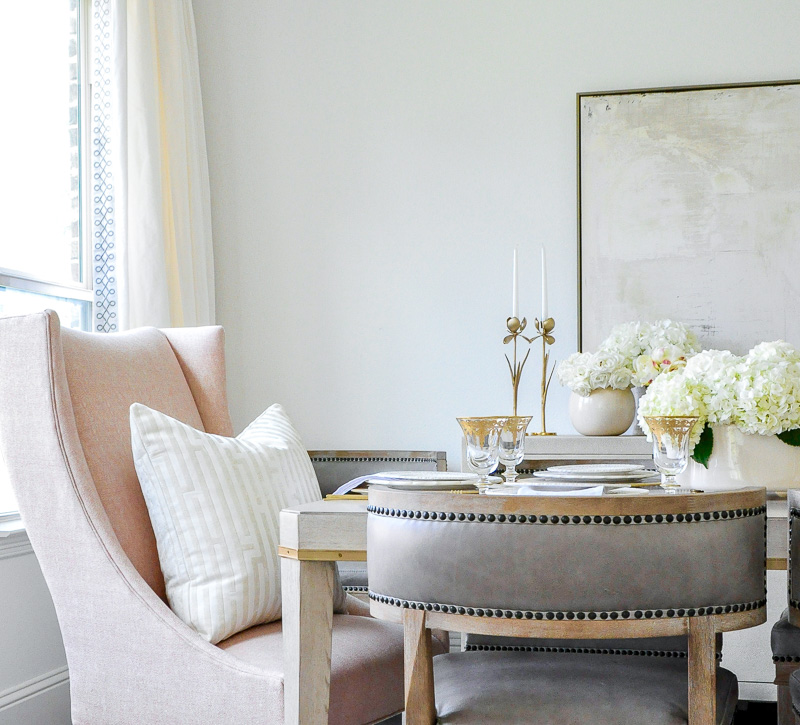 Elegant dining room side chairs taupe end chairs blush