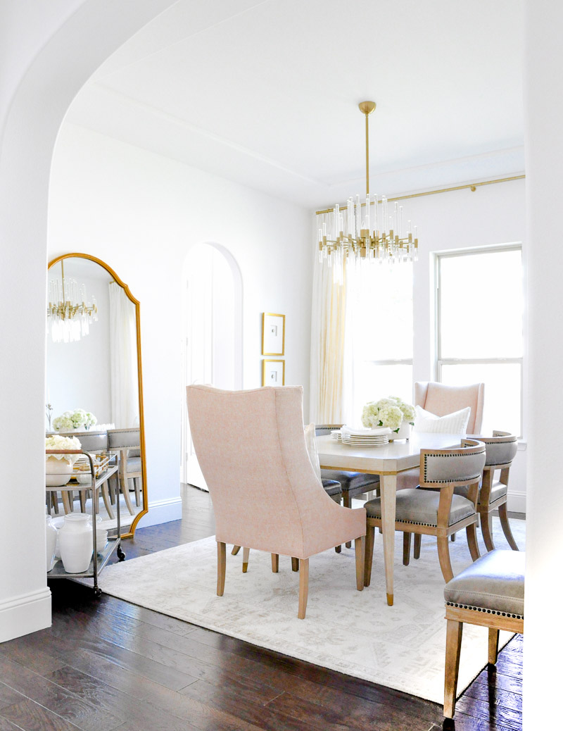 elegant dining room transitional style blush gold taupe