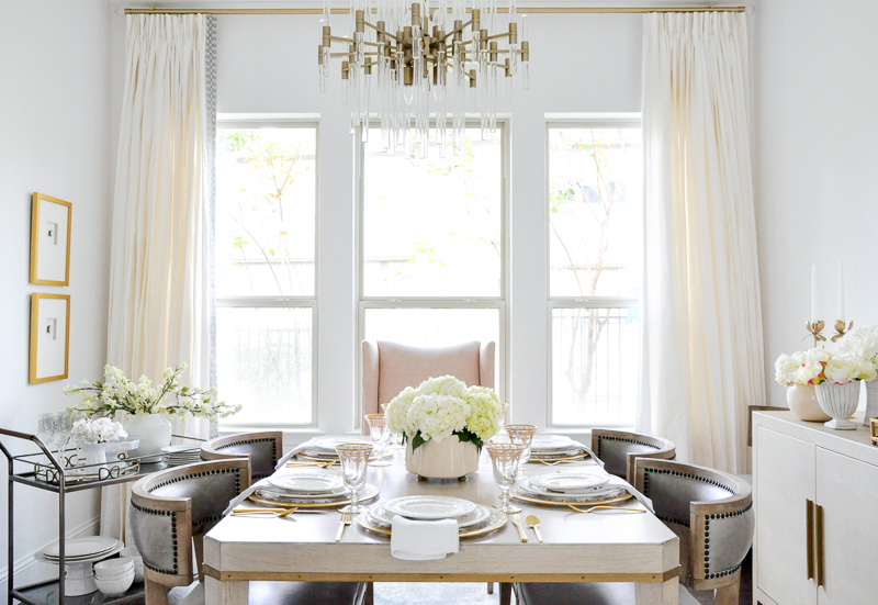 Elegant dining room transitional style neutral furnishings