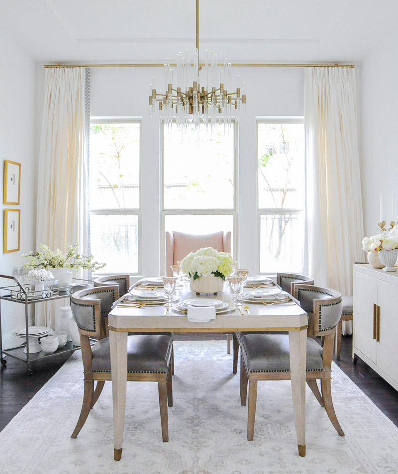 Elegant dining room transitional style white bright