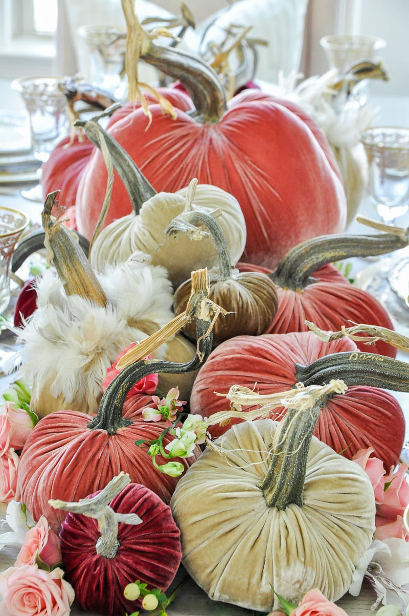 Thanksgiving centerpiece cascading pumpkins colors rose blush