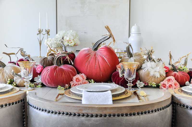 Thanksgiving centerpiece cascading pumpkins colors blush rose