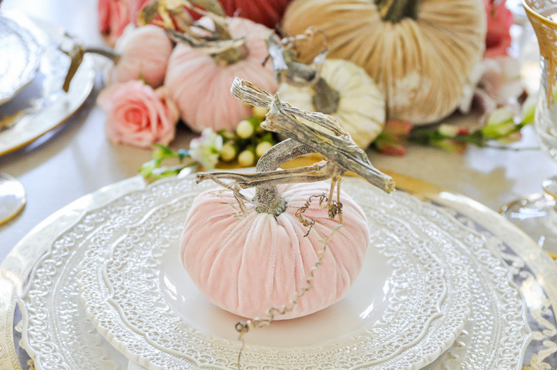 Thanksgiving centerpiece cascading pumpkins colors blush