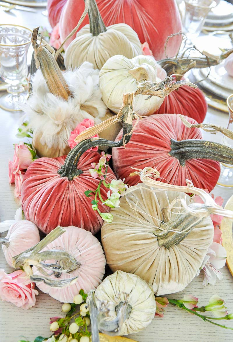 Thanksgiving centerpiece cascading pumpkins colors rose blush tan