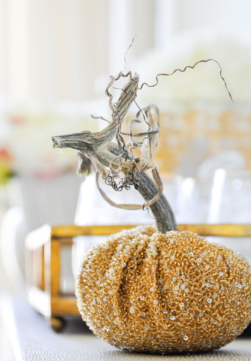 Decorative gold beaded pumpkin