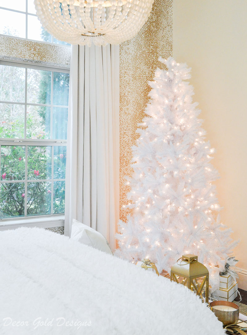 White tinsel tree christmas bedroom magical glow