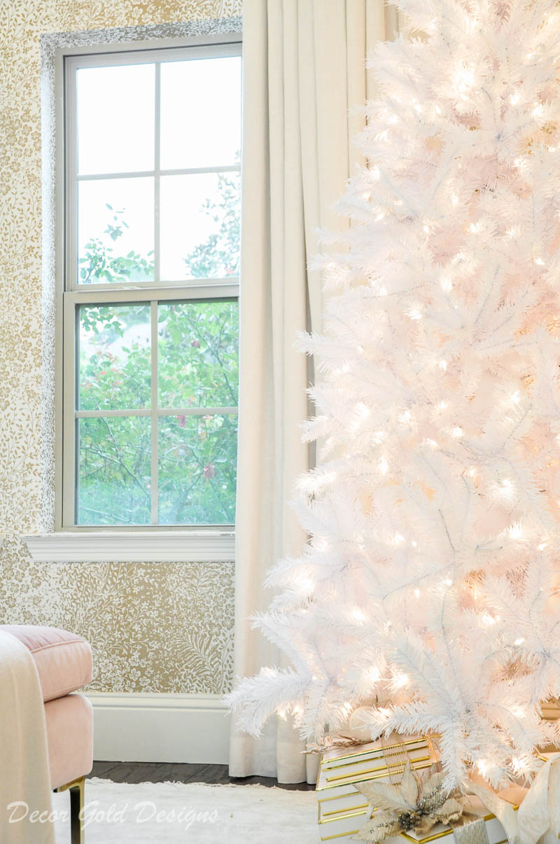 white tinsel tree christmas bedroom