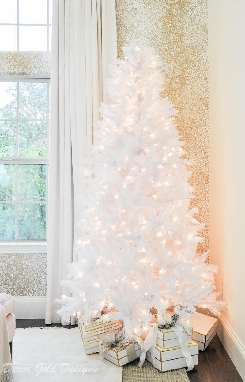 Beautiful white tinsel tree christmas bedroom