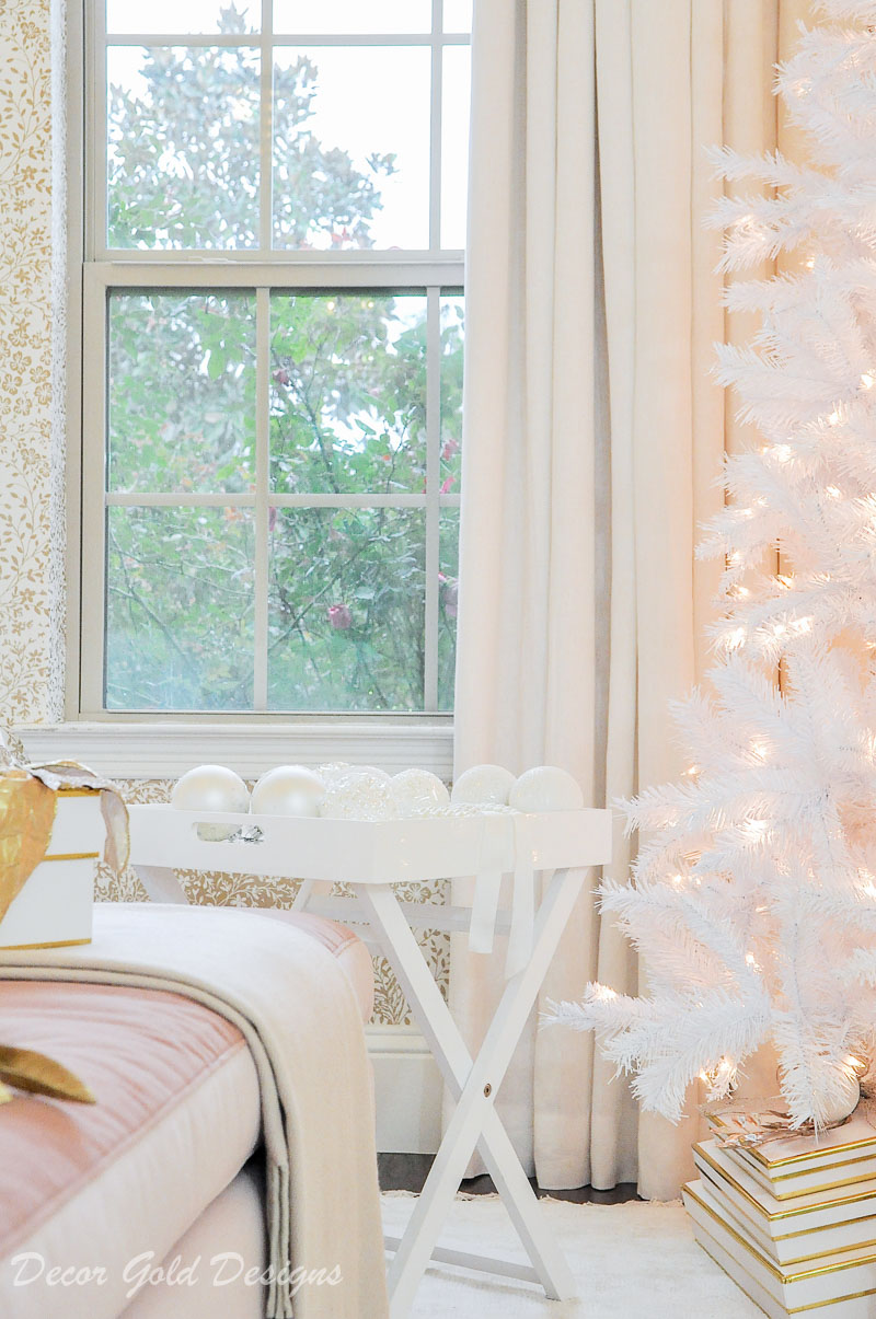 white tinsel tree ornament tray christmas bedroom