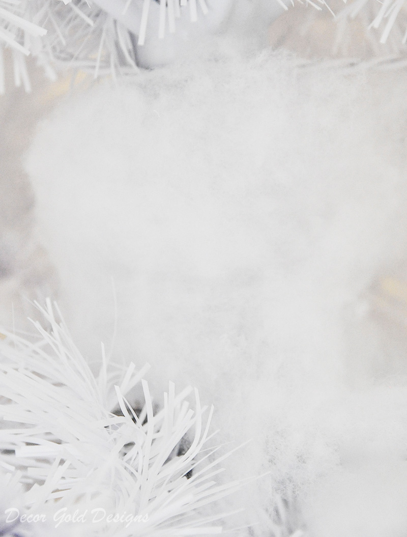 White tinsel tree fluffy faux snow filler