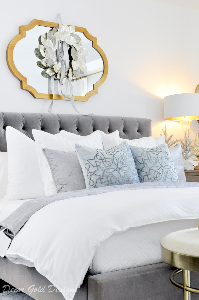 Christmas bedroom white gray icy blue