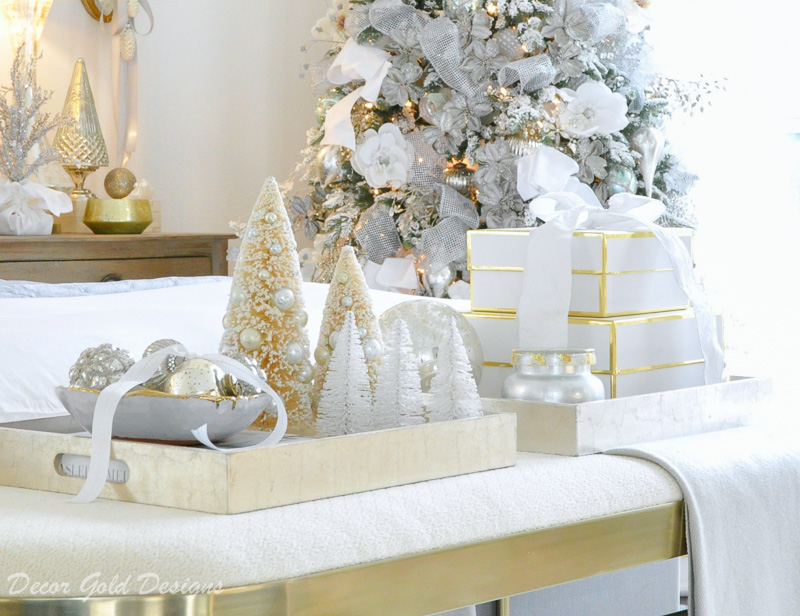 Christmas bedroom white metallic gold