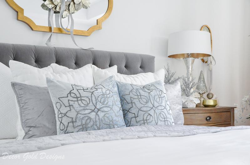 Christmas bedroom white gray icy blue velvet
