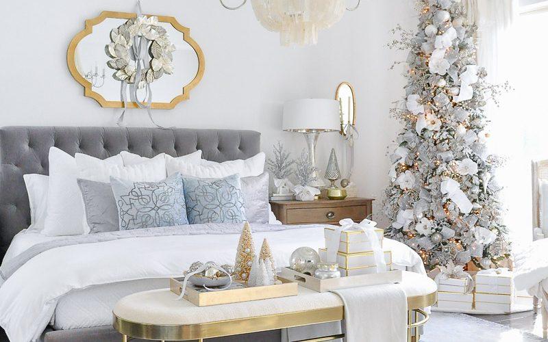 Beautiful Christmas bedroom.