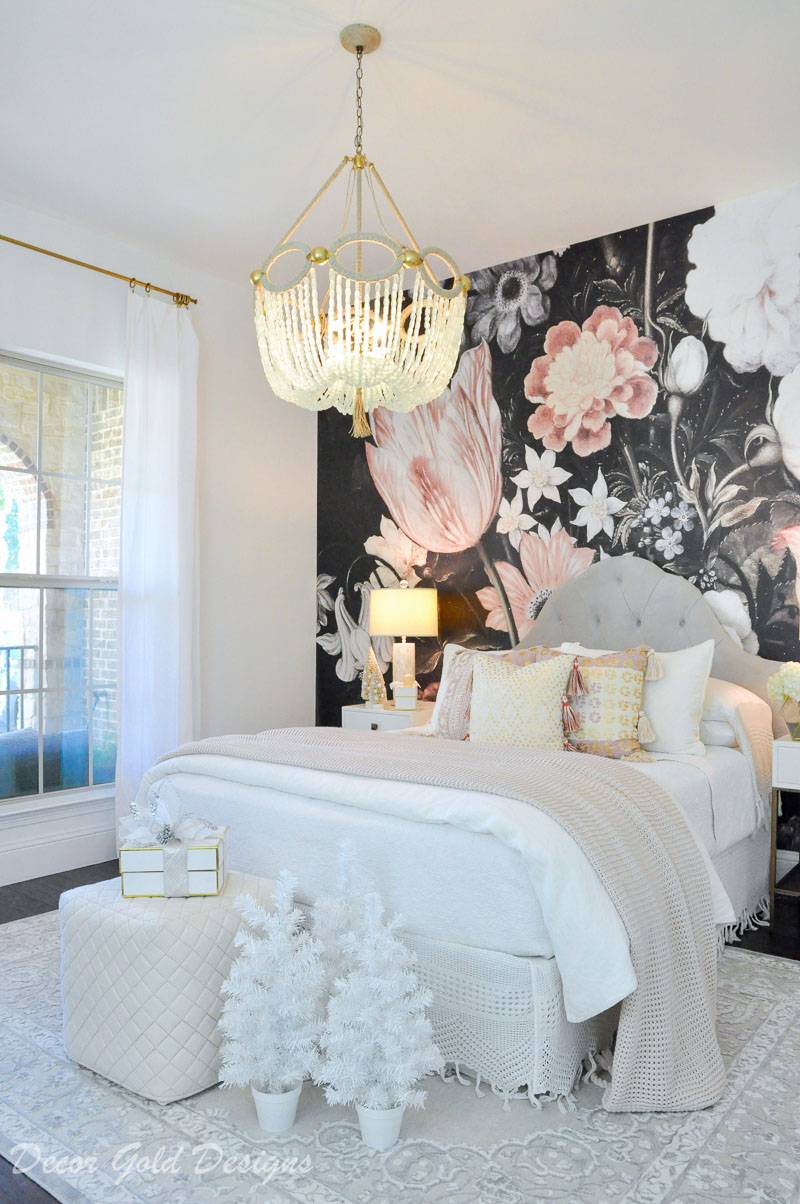 Christmas bedroom white accents