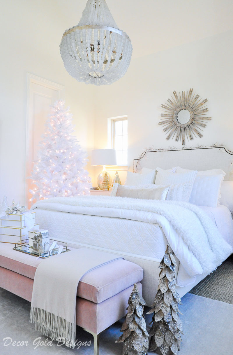 Christmas bedroom white blush