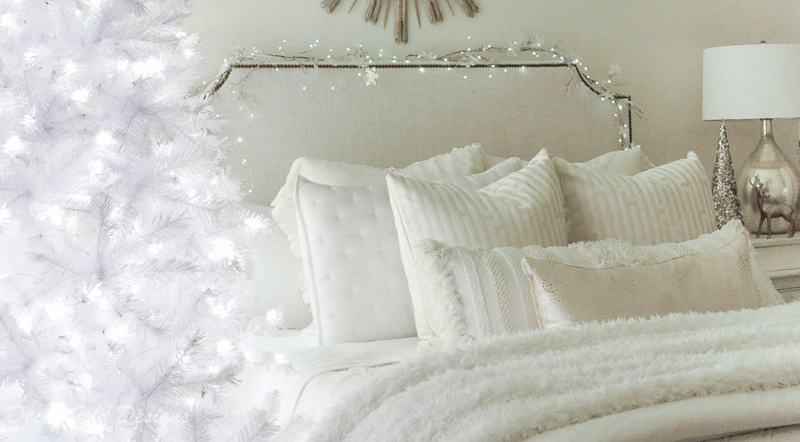 Christmas home night lights dreamy white bedding