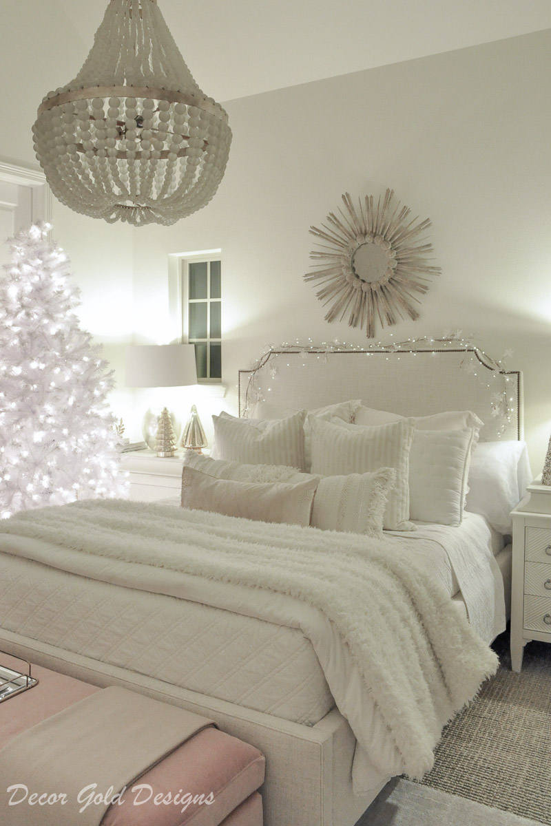 Christmas home night lights dreamy white bedroom