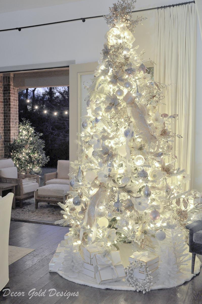 Christmas home night lights tree lit up